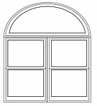 Combination - half circle over 2 wide double-hung